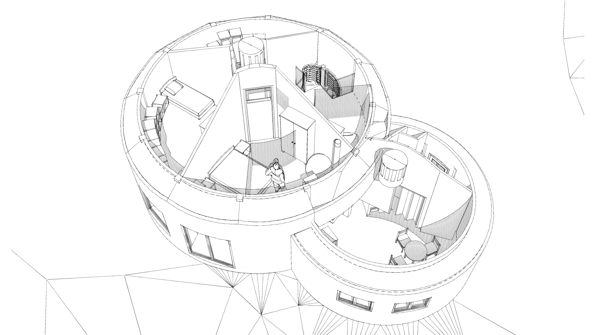 Maisons rondes en paille à Desges