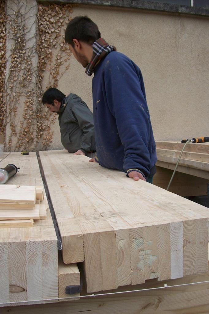 Ossature et dalles en bois, biocoop Echo-Nature