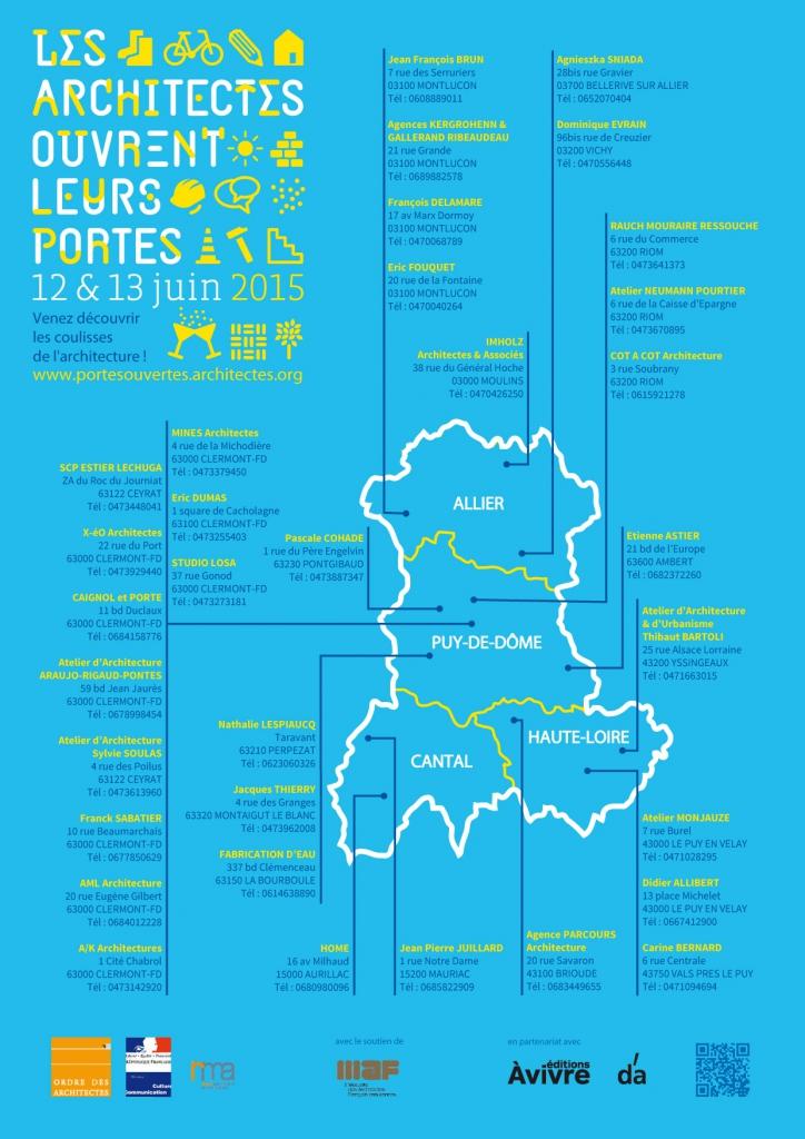 Carte des architectes qui ouvrent leurs portes en Auvergne