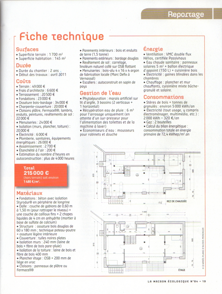 Publication dans la maison ecologique eco architecte for Fiche technique construction maison
