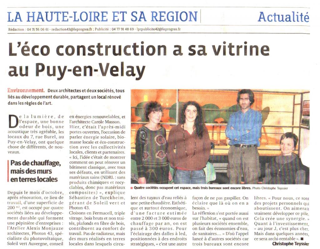 L'éco-construction à sa vitrine au Puy-en-Velay