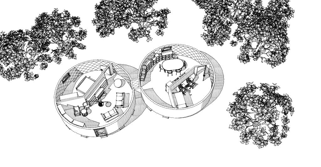 Vue numérique d'un projet de yourte
