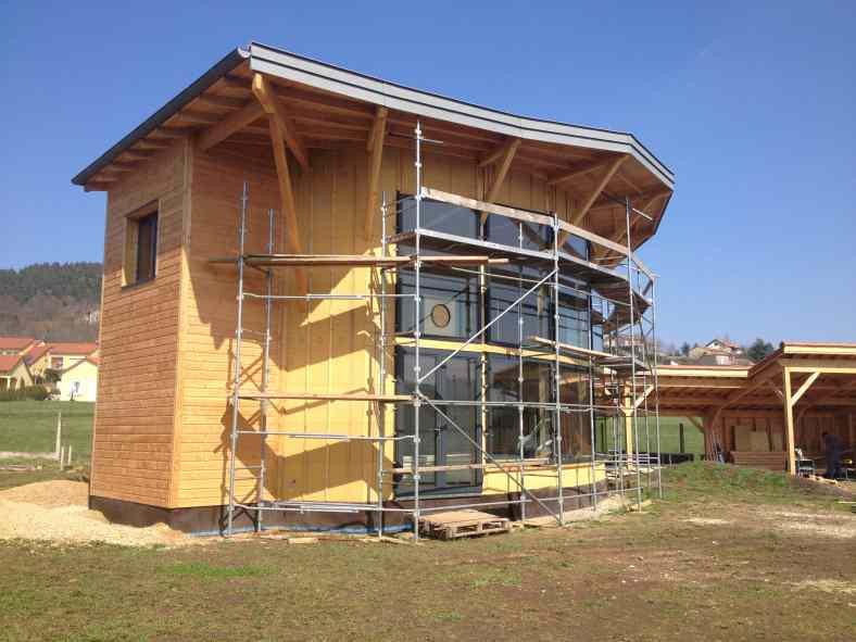 Maison bio-sourcée bois et quasi passive à Coubon