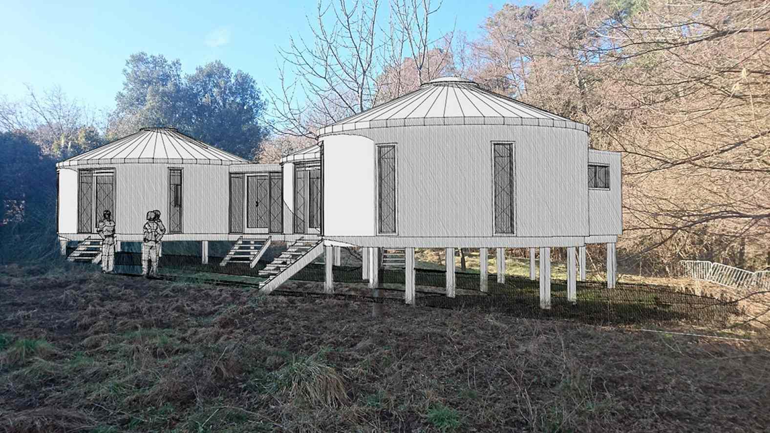 Photomontage pour un projet de Yourte dans le Gard