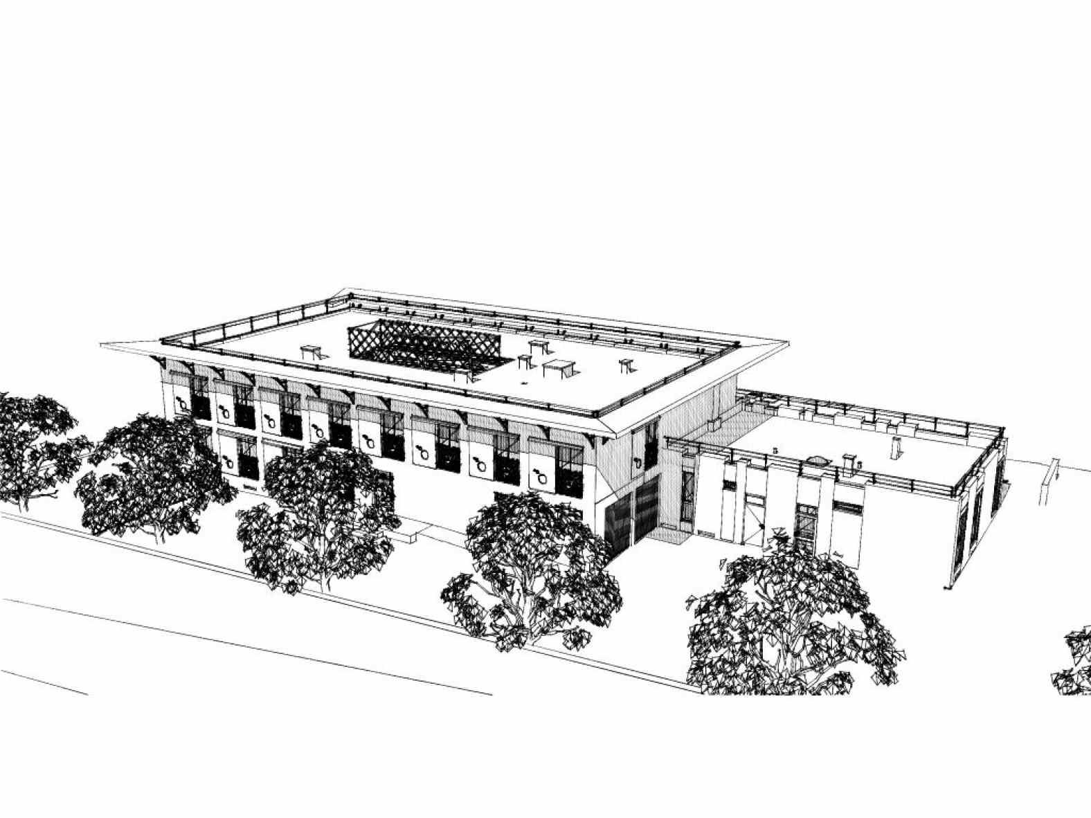 Vue d'ensemble du projet de l'immeuble des Bleuets rénové