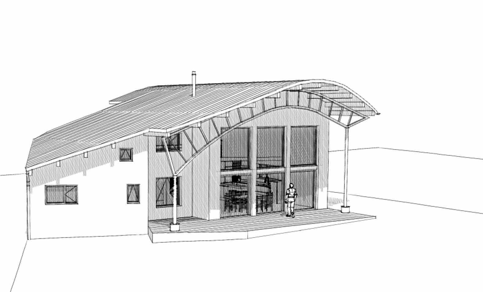 Il faut dessiner le débord de toiture pour qu'il projette son ombre sur la façade SUD le 21 juin à midi